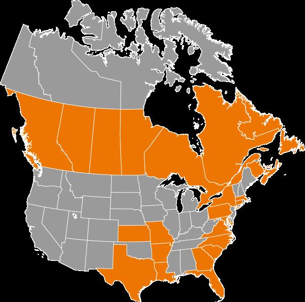 Carte amérique du Nord / Présence de Rubi